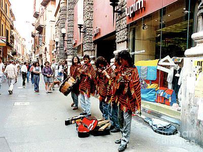 Photograph - Street Musicians In Verona, Italy by Merton Allen