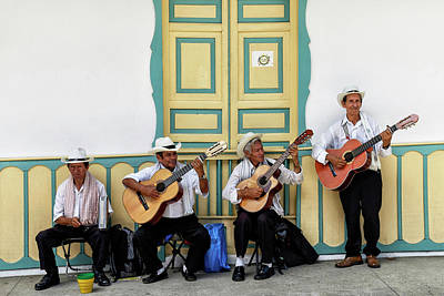 Musicians Royalty Free Images - Street Musicians - Salento, Colombia - 24x36 Promo Royalty-Free Image by Michael Evans