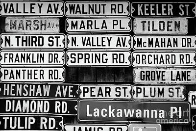 Street Names Art Print by Colleen Kammerer
