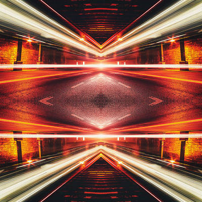 Traffic Digital Art - Street Night Light Xtforce-tb by Philipp Rietz