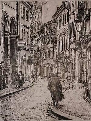 Gordana Dokic Segedin Drawings Drawing - Street Of Prague by Gordana Dokic Segedin