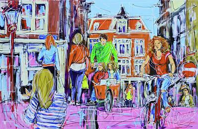 Girl On Bike Painting - Street On Brigde Amsterdam by Mathias