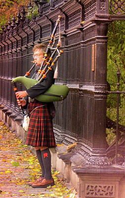 Bagpipes Wall Art - Photograph - Street Performer Playing The Bagpipes by Art Spectrum