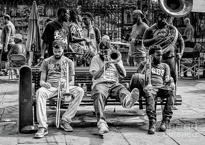 Photograph - Street Photography - Musicians Jackson Square Nola Bw by Kathleen K Parker