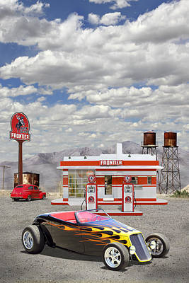 Gas Pump Wall Art - Photograph - Street Rod At Frontier Station by Mike McGlothlen