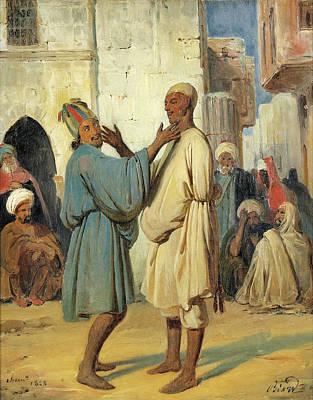 Biard Painting - Street Scene by Francois-Auguste Biard