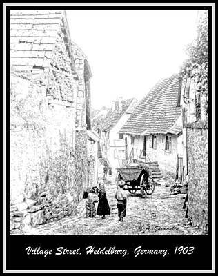 Balck Art Digital Art - Street Scene Heidelberg Germany 1903 by A Gurmankin