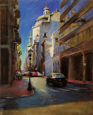 Street Scene In Buenos Aires Art Print by Peter Salwen