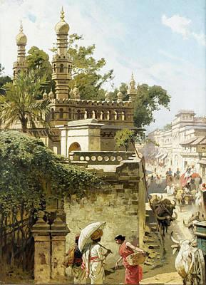Hyderabad Artist Painting - Street Scene In Hyderabad. India by Woldemar Friedrich