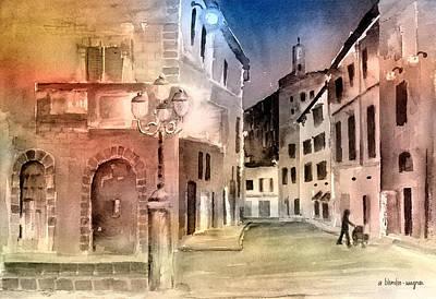 Street Scene In Italy Art Print by Arline Wagner