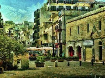 Digital Art - Street Scene Mellieha Malta by Leigh Kemp