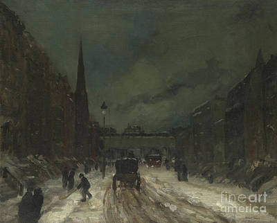 Street Scene With Snow  57th Street, Nyc Print by Robert Henri
