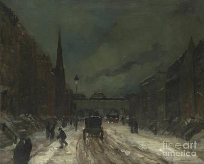 Snowy Night Painting - Street Scene With Snow  57th Street, Nyc by Robert Henri