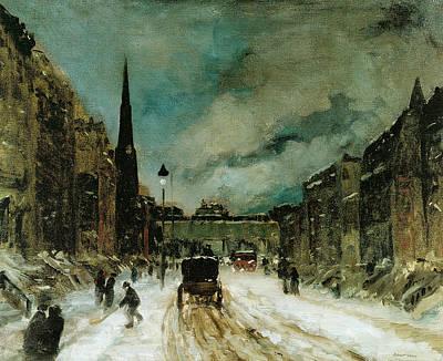 Winter Scene Painting - Street Scene With Snow by Robert Henri
