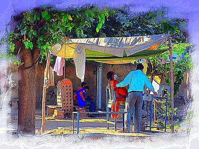 Photograph - Street Scenes The Barber Exotic Travel Jaipur Rajasthan India 1a by Sue Jacobi