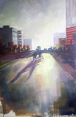 Two Bicycles Painting - Street Shadows by Zlatko Music