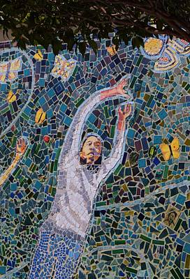 Photograph - Street Side Mosaic Mural Macro by Warren Thompson