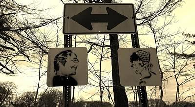Photograph - Street Sign Girl Guy Art Sepia by Rob Hans