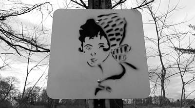 Photograph - Street Sign Girl Nature B W by Rob Hans
