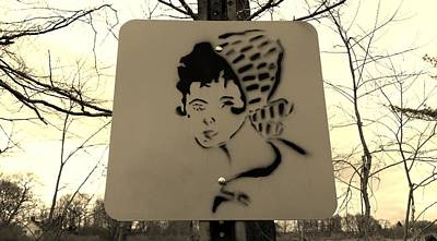 Photograph - Street Sign Girl Nature Sepia by Rob Hans