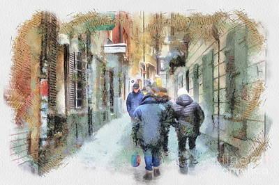 Mixed Media - street  Stockholm  Sweden by Yury Bashkin