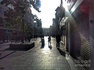Photograph - Street Sun Reflections 2 by Joan-Violet Stretch