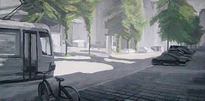 Painting - A Street On A Sunday Morning by Lena Krasotina