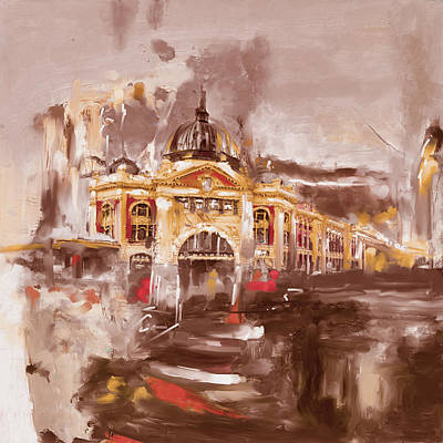 Railway Station Painting -  Flinders Street Station 464 I by Mawra Tahreem
