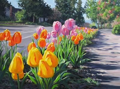 Street Tulips Art Print by Karen Ilari
