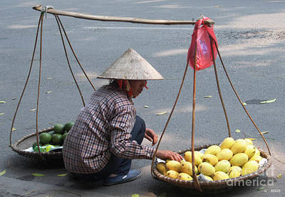 Photograph - Street Vendor With Fruit Baskets by Jacquelinemari