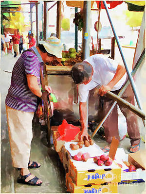 Painting - Street Vendors 1 by Lanjee Chee