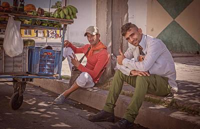 Art Print featuring the photograph Street Vendors In Cienfuegos Cuba by Joan Carroll