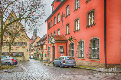 Photograph - Street View In A Dull Rainy Day Dinkelsbuhl Germany by Jivko Nakev