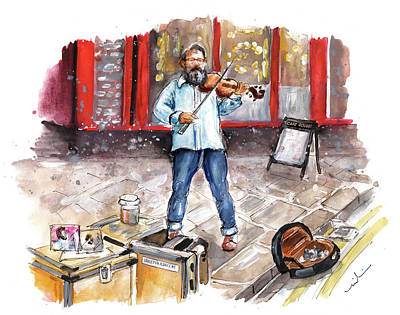 Painting - Street Violinist In York by Miki De Goodaboom