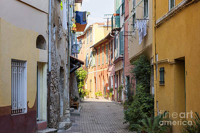Street With Sunshine In Villefranche-sur-mer Print by Elena Elisseeva