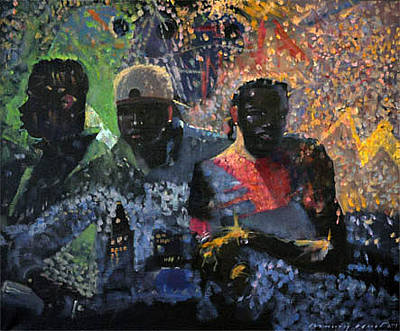Painting - Street Writers by Maury Hurt