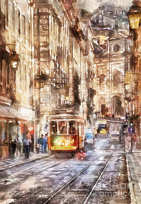 Painting - Streetcar In Lisbon by Shirley Stalter