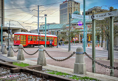 Photograph - Streetcar On Canal Near River- Nola by Kathleen K Parker