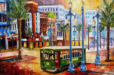 Canal Street Painting - Streetcar On Canal Street by Diane Millsap