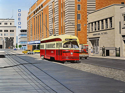 Painting - Streetcar On Carlton Circa 1970 by Kenneth M  Kirsch