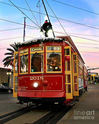 Canal Street Photograph - Streetcar Sunset by Perry Webster