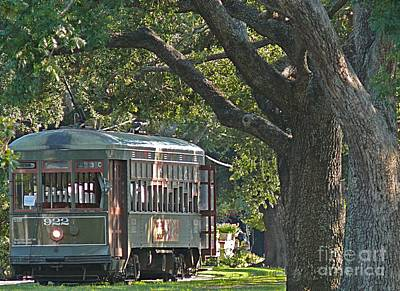 Streetcar Under The Oak Trees Art Print