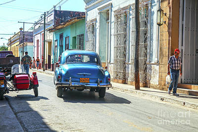 Photograph - Streetlife With Car In Trinidad, Cuba by Patricia Hofmeester