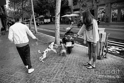 Bama Photograph - Streets Of Barcelona 2 Dog, 2 People  by Chuck Kuhn