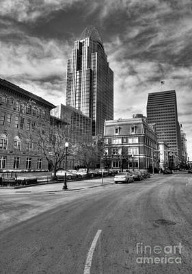 Photograph - Streets Of Downtown Cincinnati Bw by Mel Steinhauer