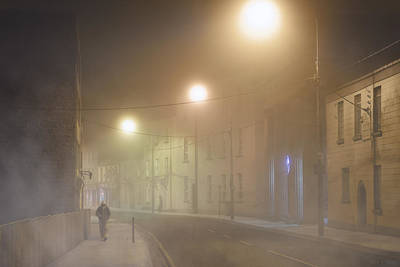 Irish Photograph - Streets Of Galway In A Fog by Mark E Tisdale