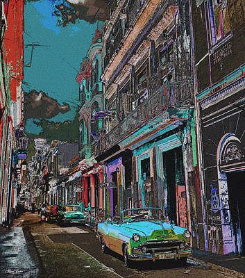 Digital Art - Streets Of Havana -in Blue by Alisa Jane