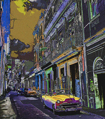 Digital Art - Streets Of Havana -in Yellow by Alisa Jane
