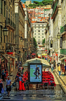 Cobblestone Streets Digital Art - Streets Of Lisbon 3 by Mary Machare