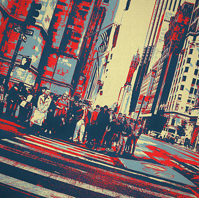 Mixed Media - Streets Of Manhattan by Dan Sproul